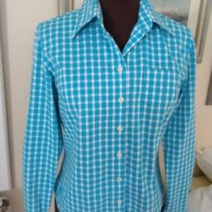 LILLY PULITZER BRIGHT BLUE CHECK FITTED SHIRT 6